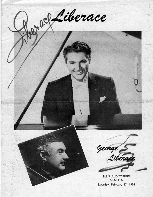 Promotional poster for a performance by Liberace at the Ellis Auditorium in 1954. This would be the first time that BOTH the North and South Halls were used for one performance.