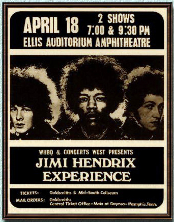 1969 promotional poster inviting you to join the Jimi Hendrix Experience at the Ellis Auditorium.