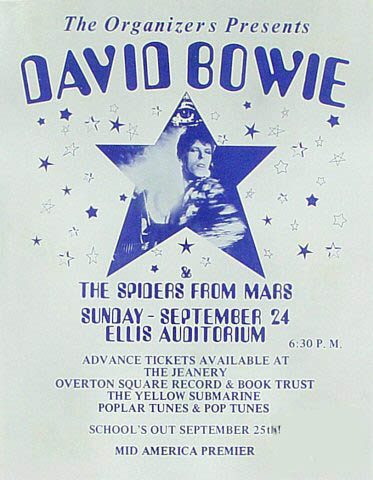 1972 promotional poster for David Bowie and the Spiders From Mars, offering advance tickets to the second stop in his first ever American tour.