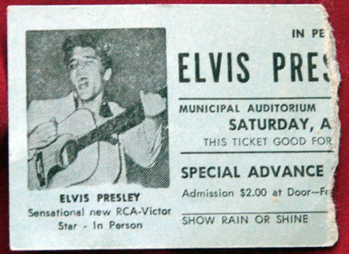 Ticket stub from one of Elvis Presley's many shows at the Ellis Auditorium.