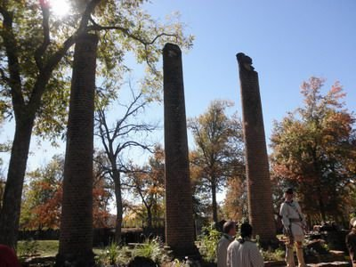 Columns of the original Cherokee Female Seminary.