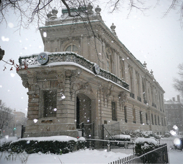The Belmont Mansion during the snow of 2011, courtesy of General Grand Chapter, Order of the Eastern Star (reproduced under Fair Use)