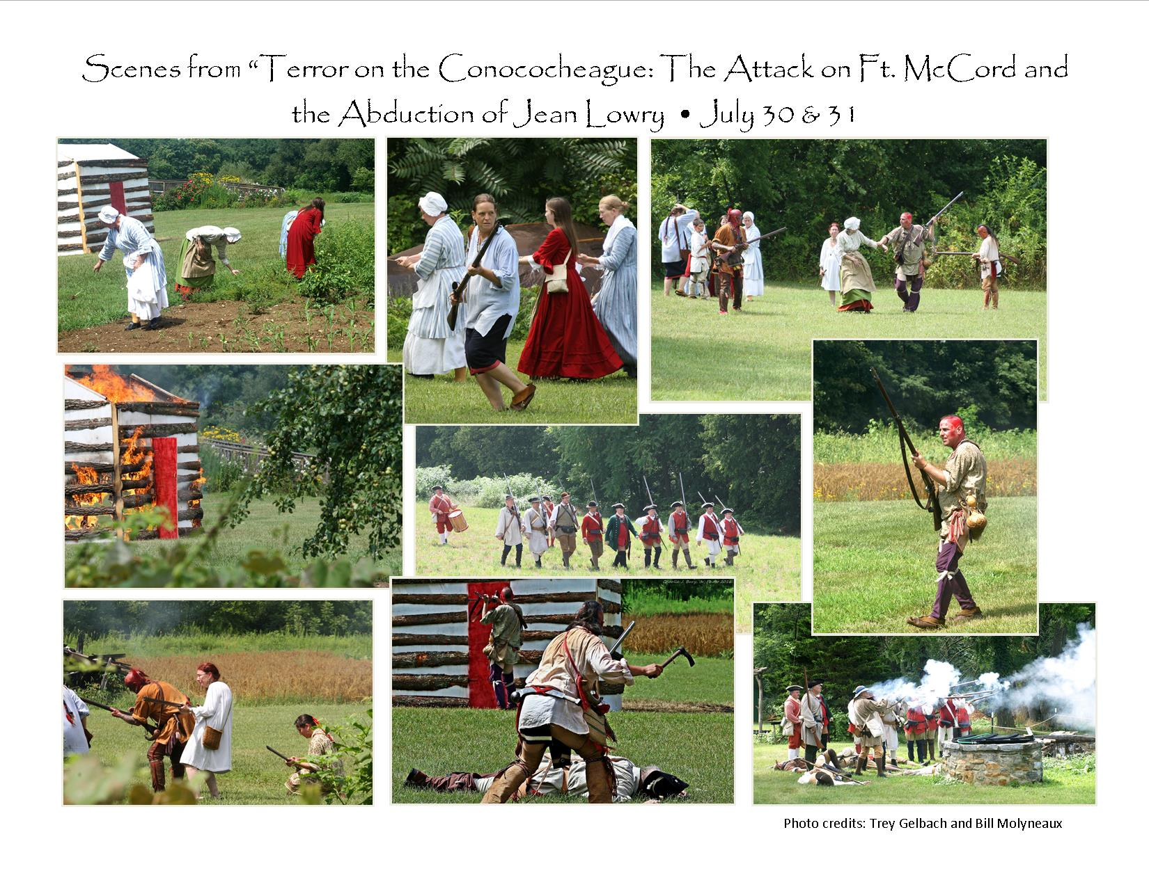 "Re-enactment of the capture of Jean Lowry and her children. A true ""Captive Narrative"" documented in Jean Lowry's diary. Re-enactments are often part of the events held at the Conococheague Settlement."