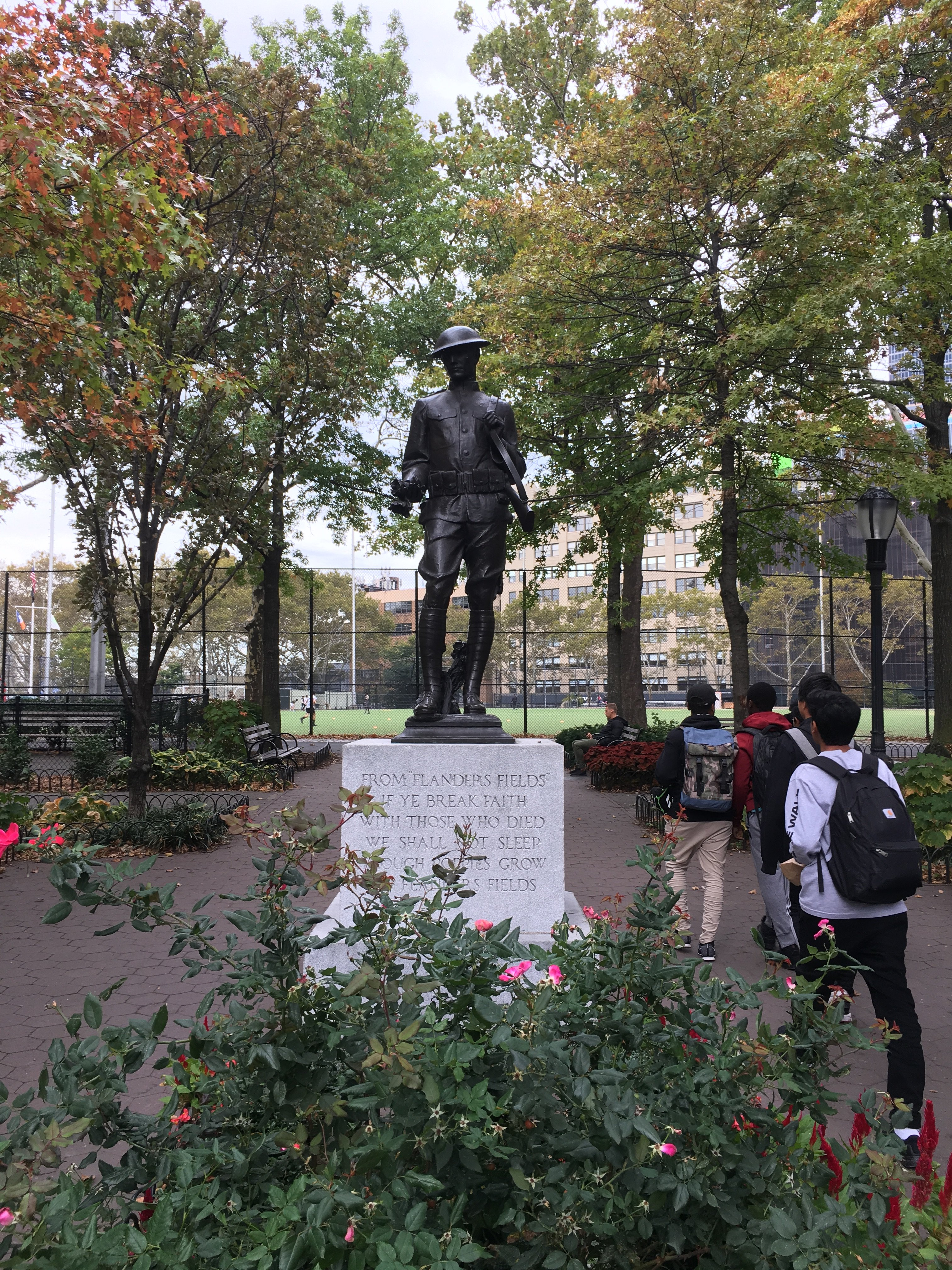 The full doughboy statue, view from the entrance at 52nd and 11th.