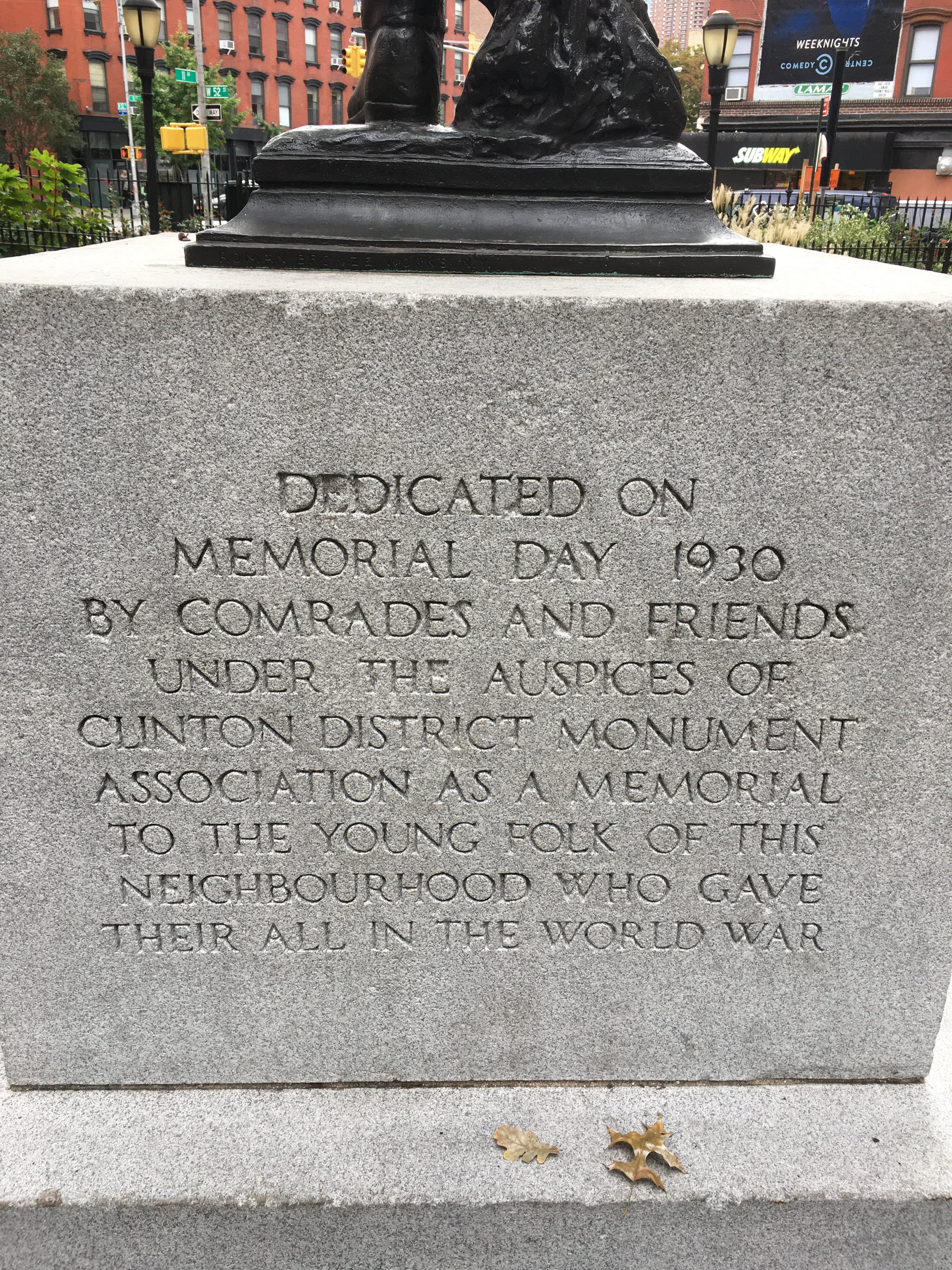 The engraved dedication on the back side of the foundation.