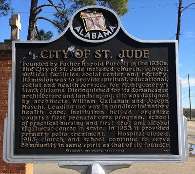 The City of St. Jude started as an organization to serve the Montgomery African American community; it is now a historic district.