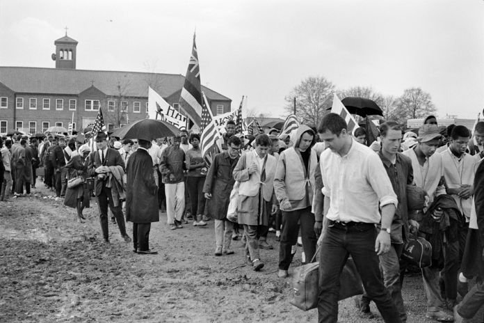Marchers at City of St. Jude got some much needed rest and recieved medical attention for wounds that they had recieved throughout the long march from Selma.  In addition to this they sang and danced to the Stars of Freedom Rally