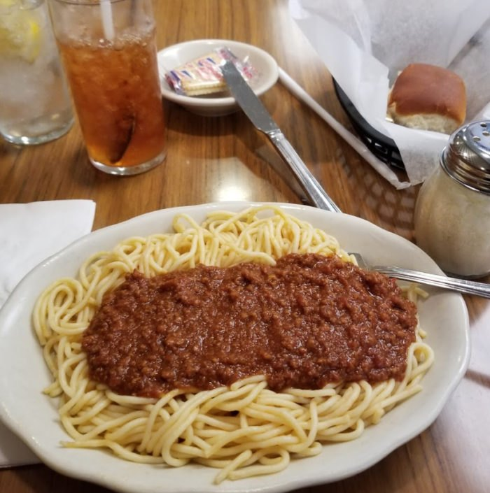 Jim's signature spaghetti with meat sauce
