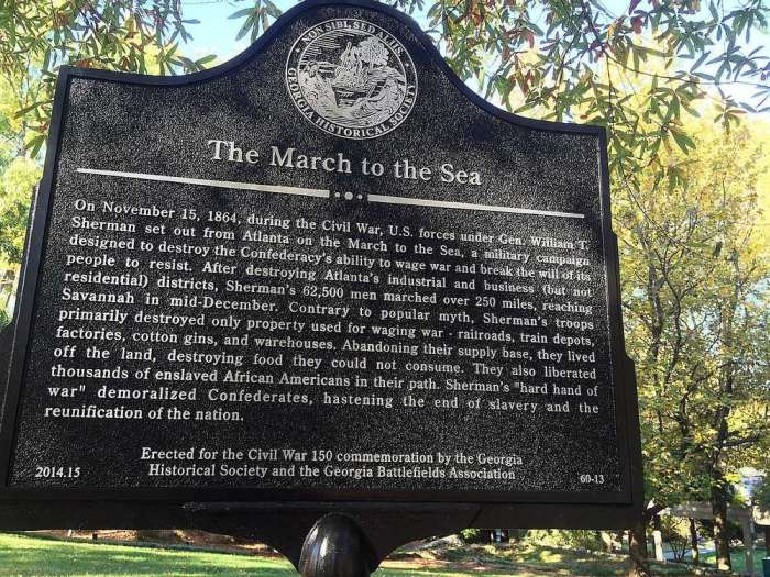 One of many like it, this particular historical marker about the long term impact of Sherman's March was unveiled in 2014 and commemorates the 150th anniversary of the Northern campaign into Southern territory.