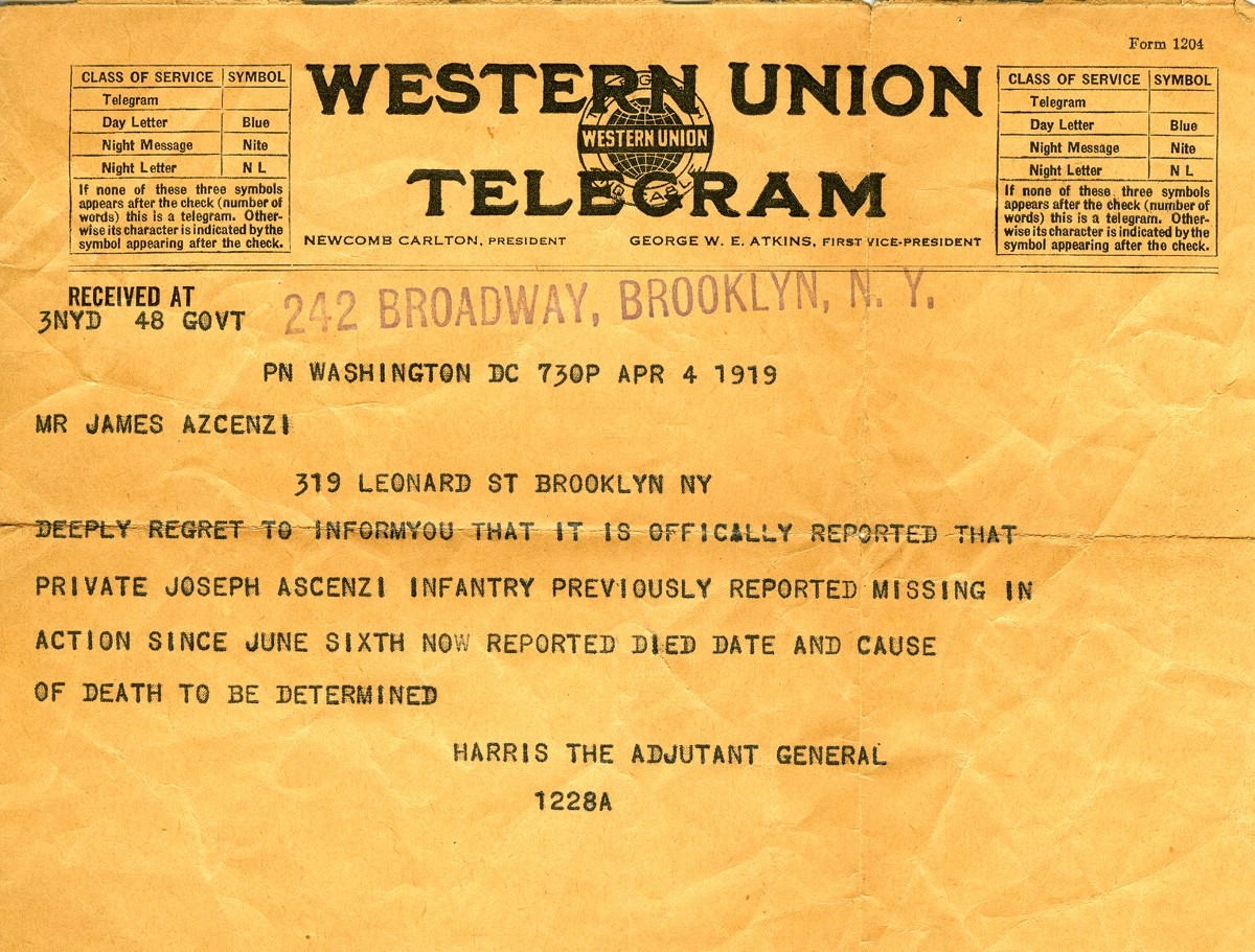 The telegram announcing the death of Pvt. Joseph Ascenzi. April 4, 1919. (.)