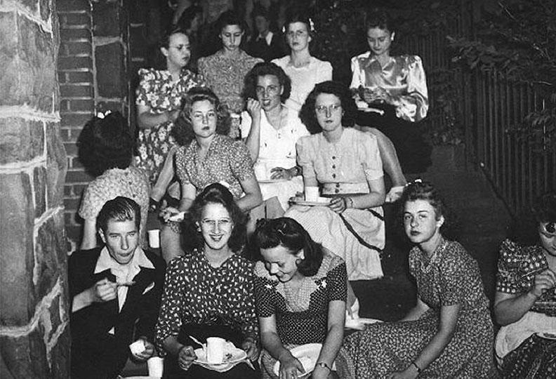 Former Stevens residents at tea time, c. 1940