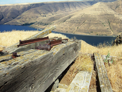 Remains of the Interior Tramway overlooking the Snake River. Only eight of the thirty-five towers remain.