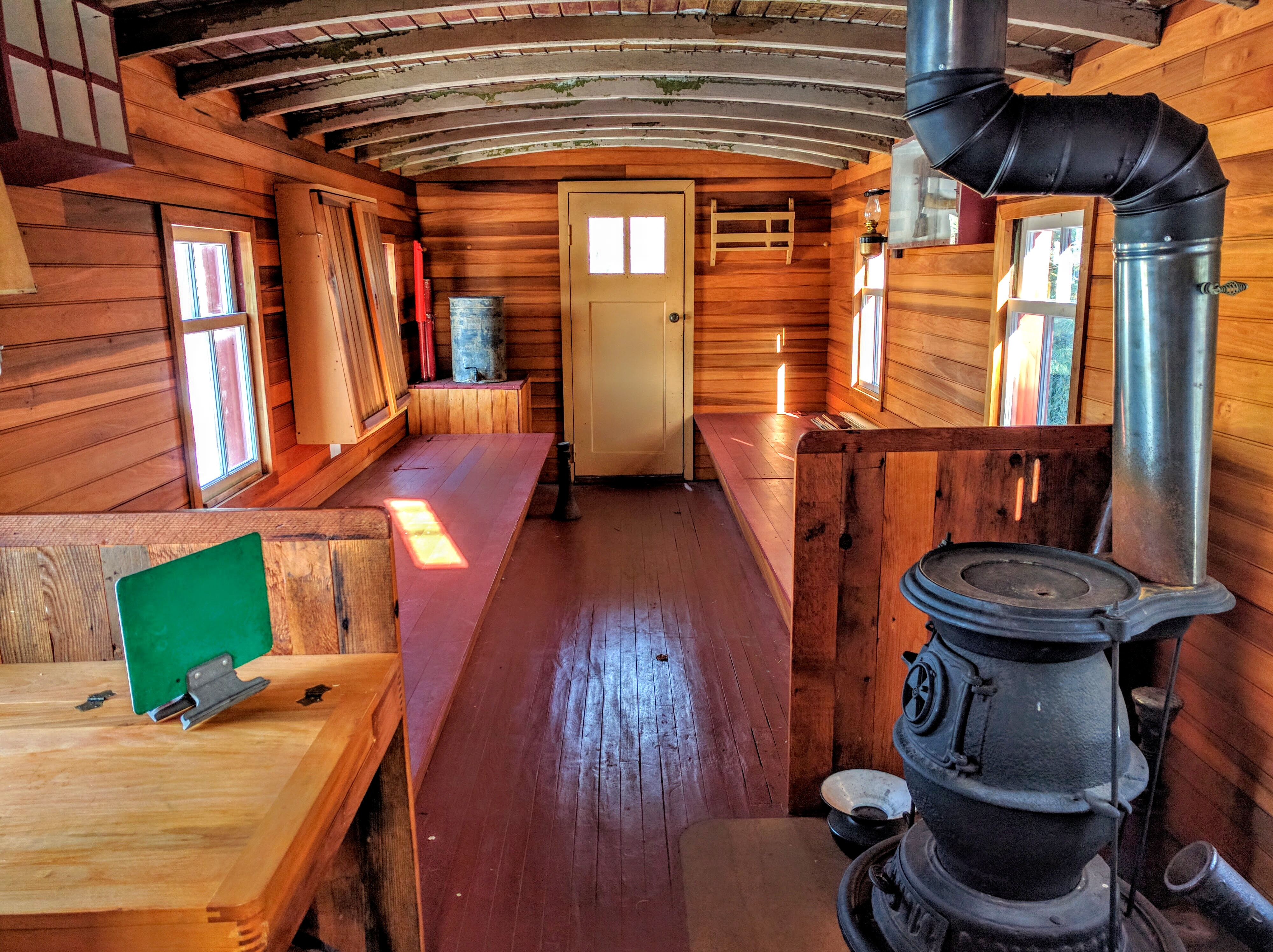 The inside of this waycar was restored by Lisle Heritage Society volunteers. When it was received by MLSP in 1998, the interior was covered from floor to ceiling with shag carpet!