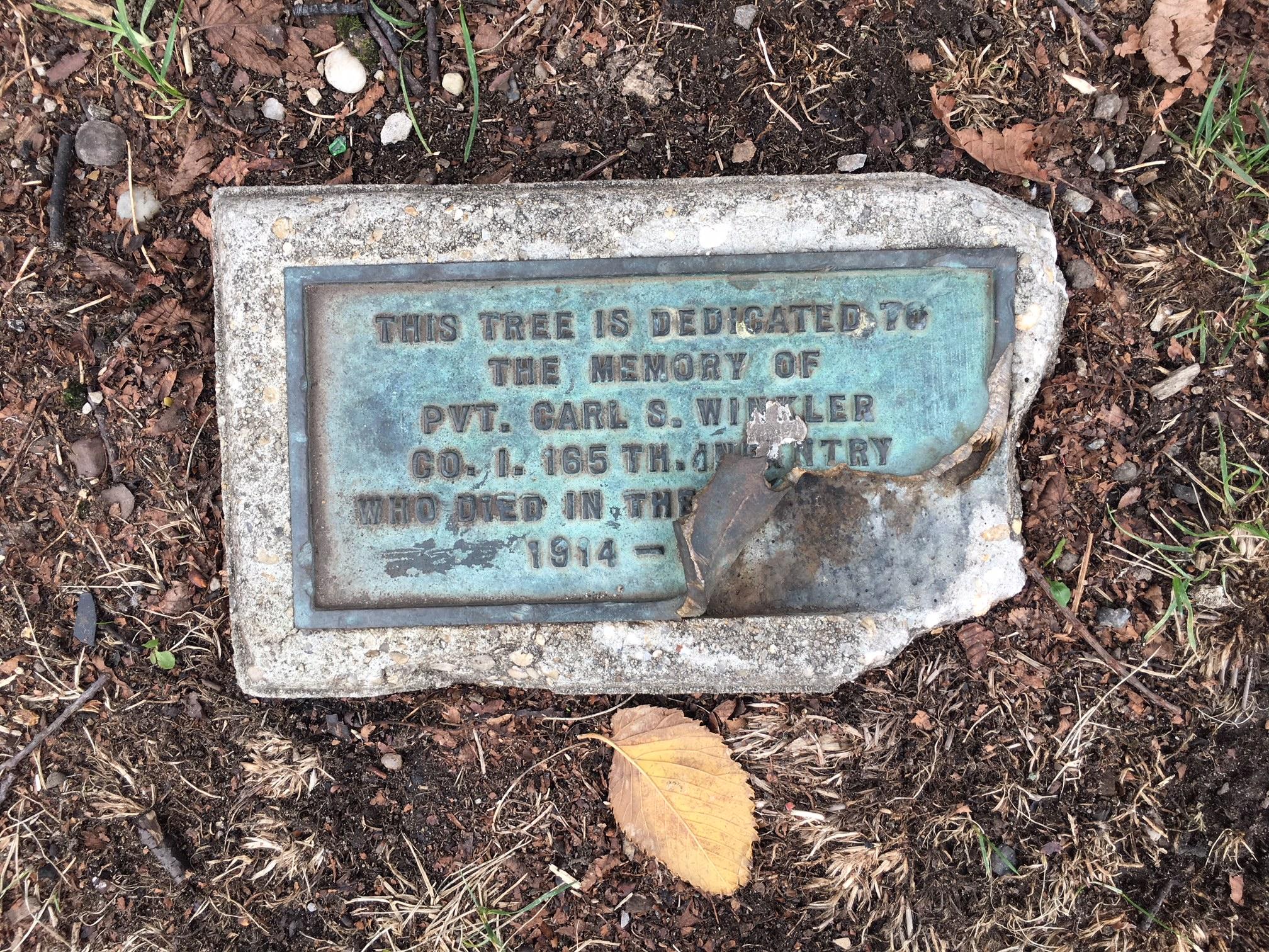 Broken plaque.