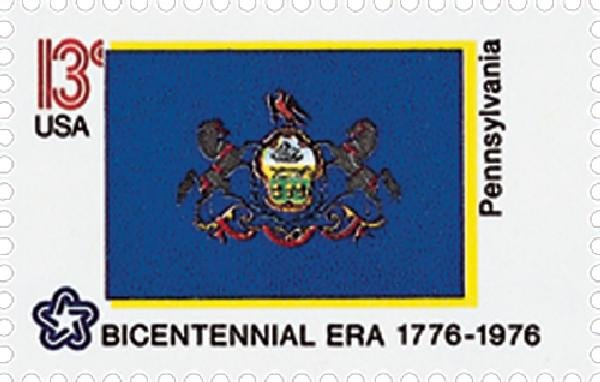 The Bicentennial stamp series was made to celebrate the historic events that lead to America's independence from Great Britain. This stamp celebrates the 200 year anniversary of America's independence.