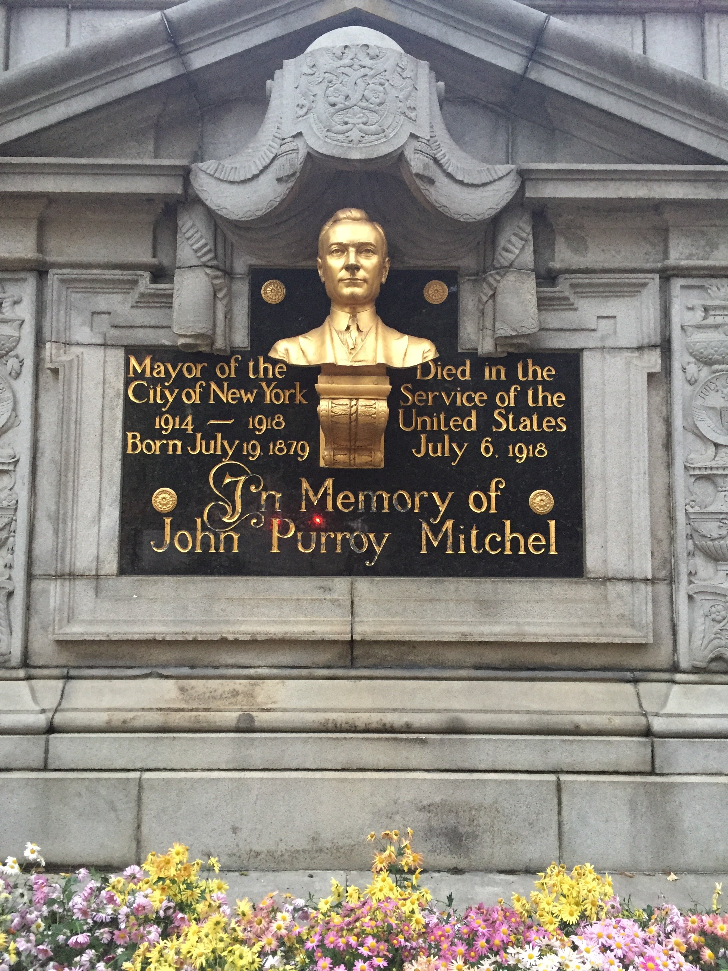 A closer view of the bust and inscription dedicated to Mitchel.