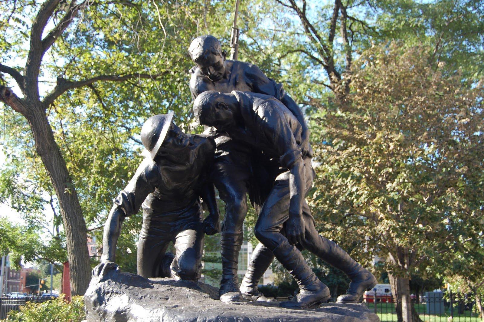 The bronze figures of the Washington Heights - Inwood War Memorial, sculpted by Gertrude Vanderbilt Whitney