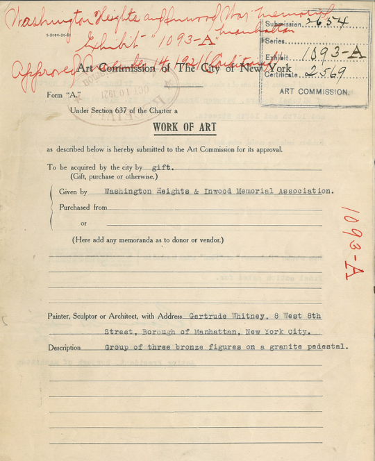 The original document submitted to New York City to approve the installation of the monument