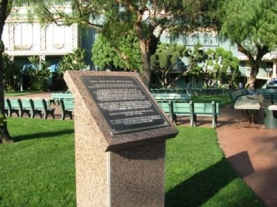 The marker near the grandstand commemorating the use of Santa Anita Park during WWII.