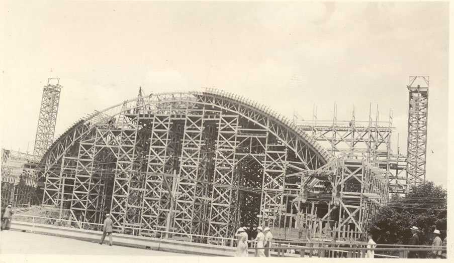 Concrete pours to build the roof of the stadium.