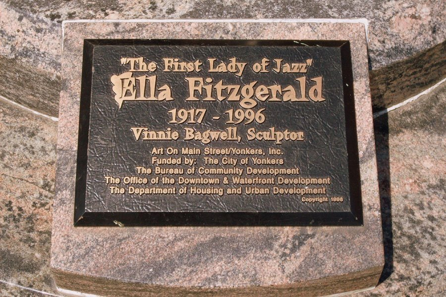 """Placard Inscription: """"The First Lady of Jazz"""" Ella Fitzgerald 1917-1996 Vinnie Bagwell, Sculptor Art on Main Street/Yonkers, Inc."""