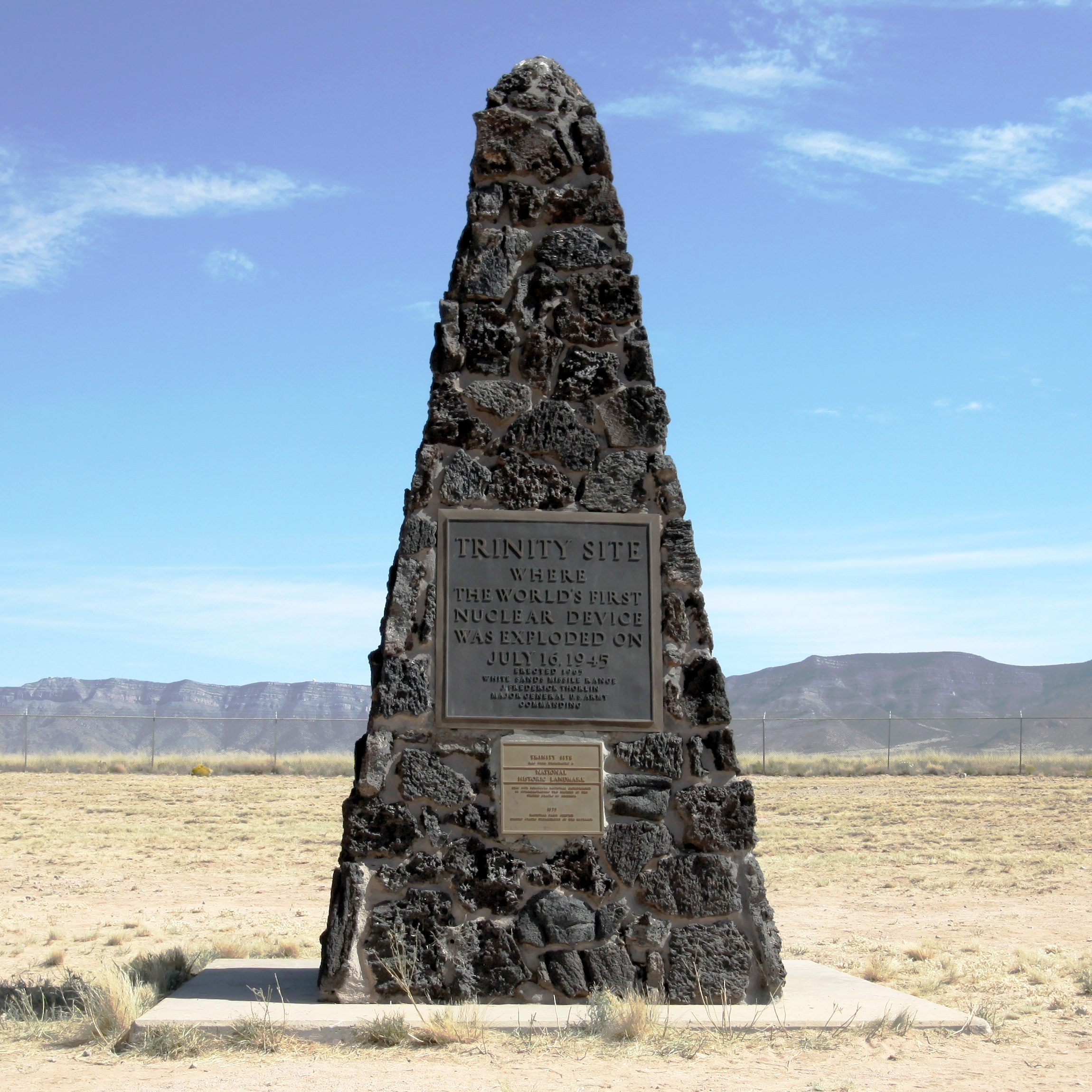 "The obelisk marks the exact location where the first atomic bomb exploded.  The inscription reads, ""The Trinity Site Where the World's First Nuclear Device was Exploded on July 16, 1945, Erected 1965."" (Courtesy of flickr.com)"