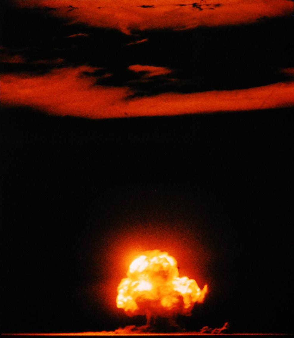 This is the only known photograph of the explosion in color. Following this explosion, the world entered the uncharted waters of the nuclear age. (Courtesy of Jack W. Aeby)