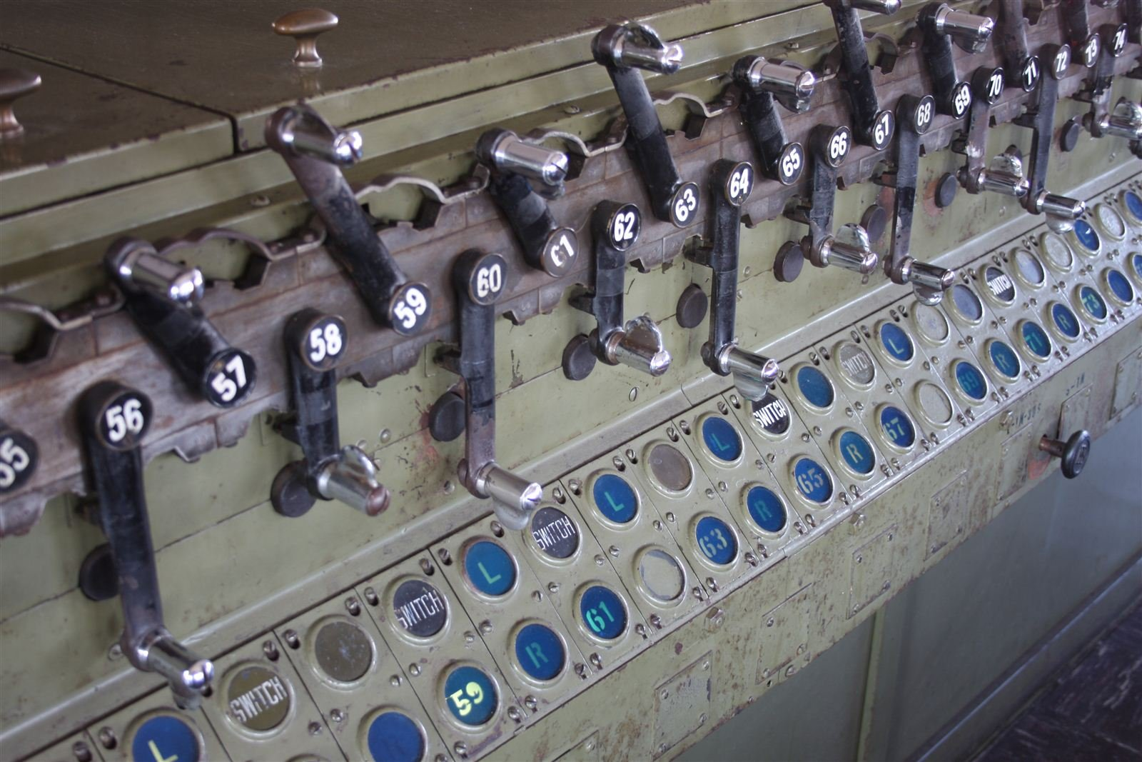 A close-up of some of the interlocking machine's 113 levers.
