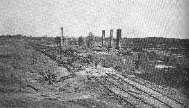 The burned remnants of an Atlanta train station.