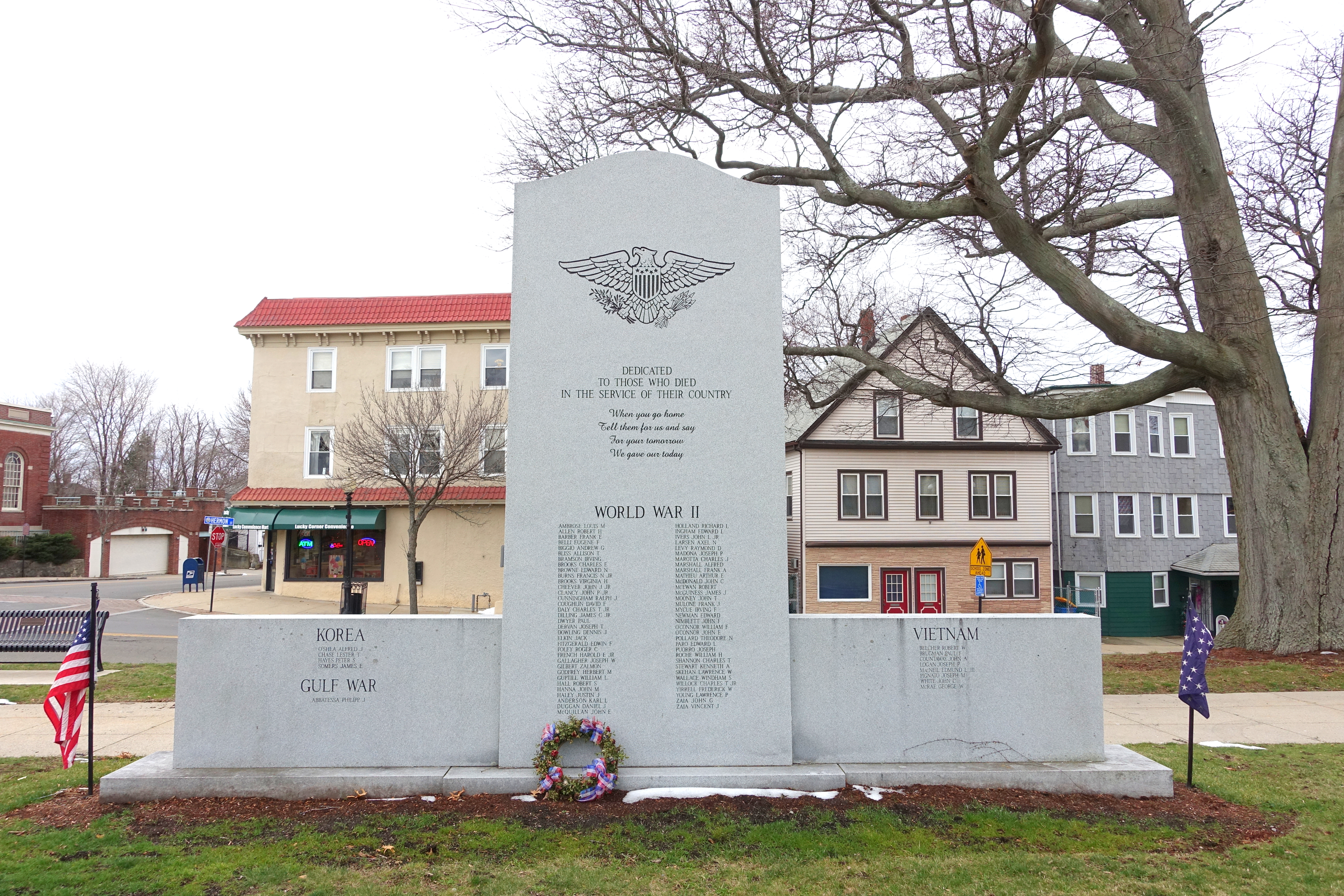 Photo of the monument, which stands in the middle of Metcalfe Square in Winthrop, Massachusetts. On this monument is all the names of the men and woman from Winthrop who served in World War II, Korea, Vietnam War, and Gulf War respectively.