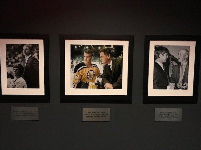 On the 14th floor of the building there are images of Bobby Orr and Harry Sinden. These images are originally from the Sports Museum and are of important events in sports history.