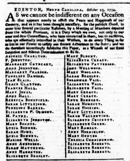 An image of the signatures of the 51 women, published in the Virginia Gazette.