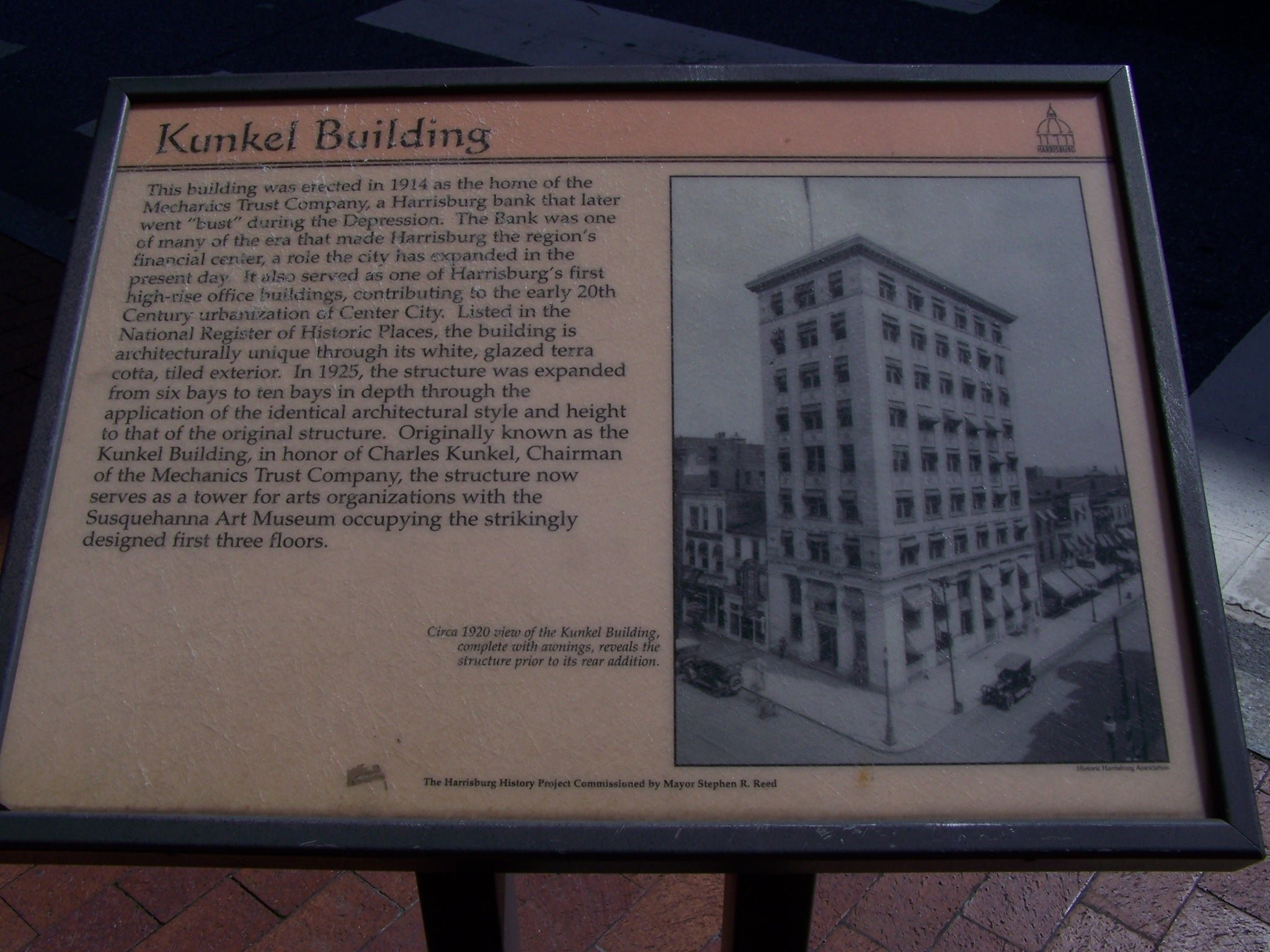 The local historical marker for the Kunkel Building.