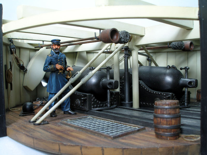 Diorama representation of the interior of the Monitor's gun turret.  Constructed by Russ Holm, kit produced by Verlinden.