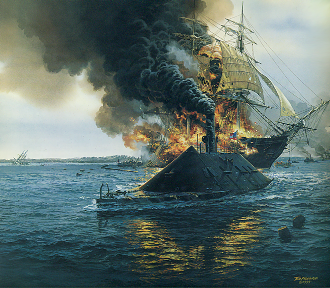 CSS Virginia steams past the flaming USS Congress.  Painting by Tom Freeman.