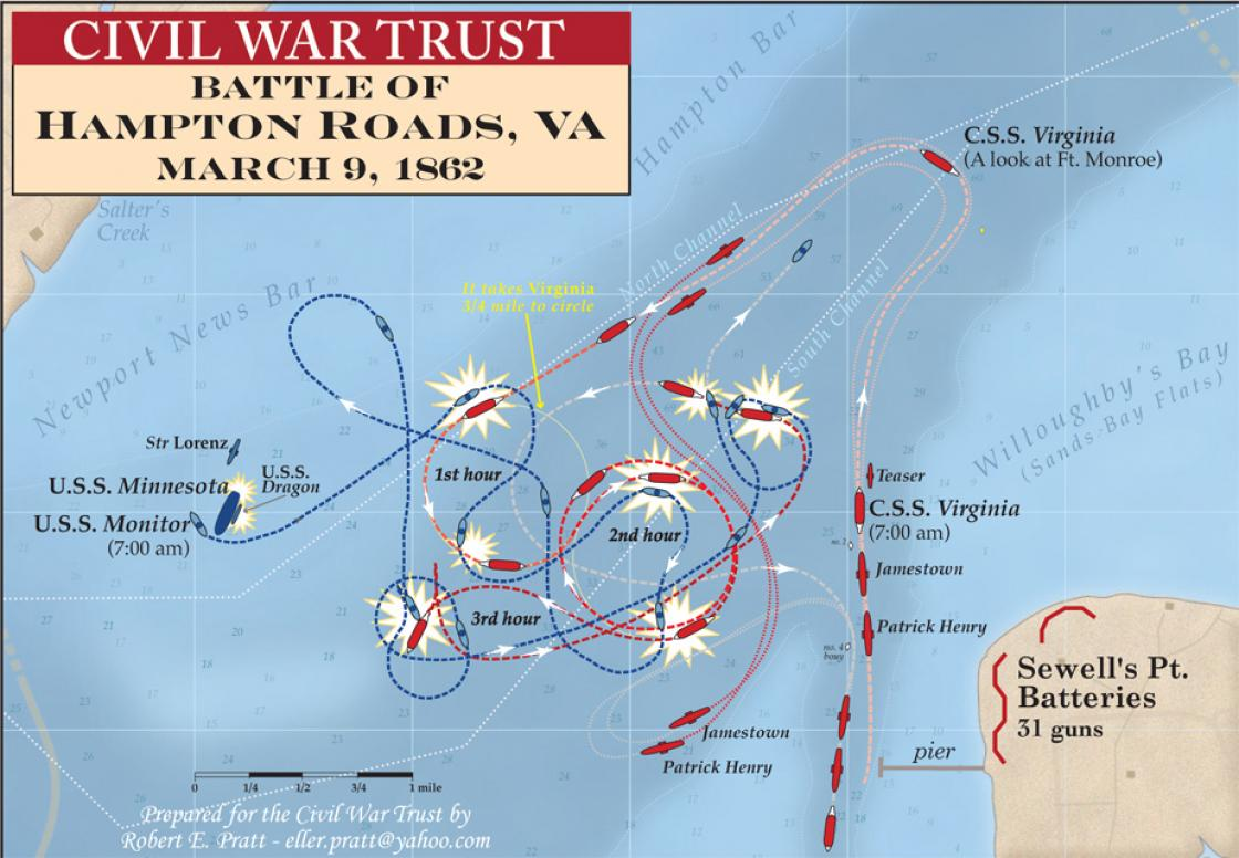 Map of the duel between the Monitor and Merrimack at Hampton Roads.