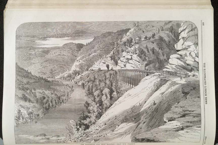 A print of the Tray Run Viaduct featured in the London Times. Courtesy of the Rowlesburg Tourism Commission.