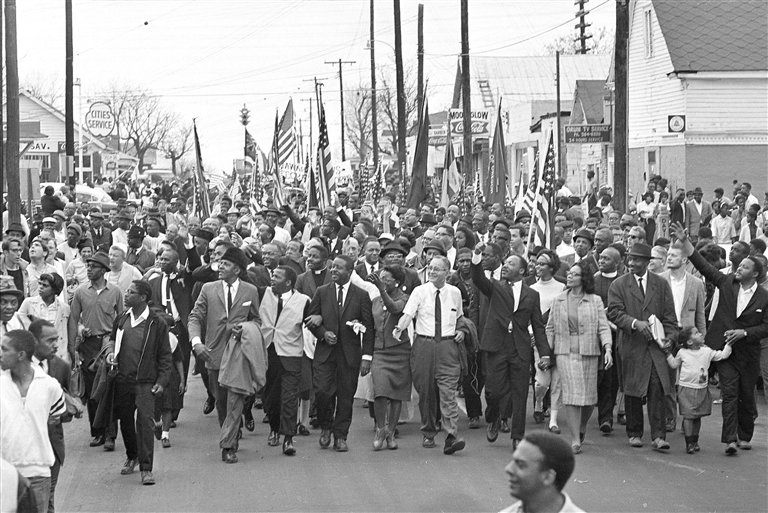 In March of 1965, thousands of people, black and white, came to Alabama to march for voting rights.
