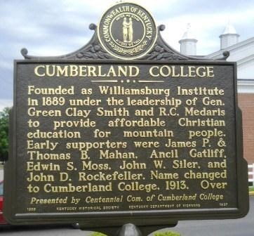 One of five Kentucky Historical Markers located on the campus of present day University of the Cumberlands.  (Google Images)