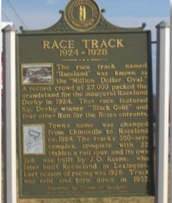 The historic marker erected in 2004, summarizing the history of Raceland Park.