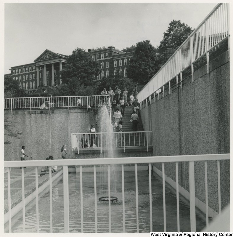 Woman's Hall as seen from the Mountainlair Fountain in the 1970s. Replaced by the Mountainlair Garage and Plaza. Photo courtesy of the West Virginia and Regional History Center.