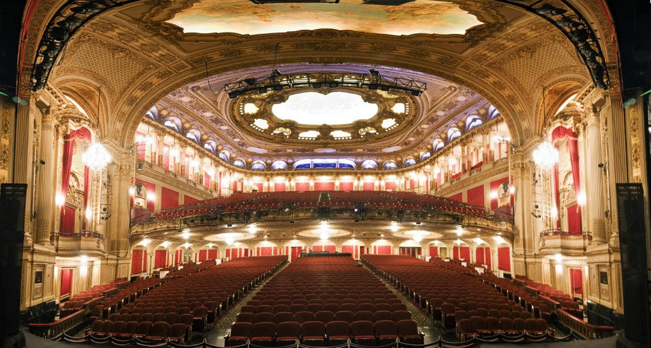A view of the renovated interior of the Boston Opera House from the stage.   © 2013 Geoffrey Goldberg Photography