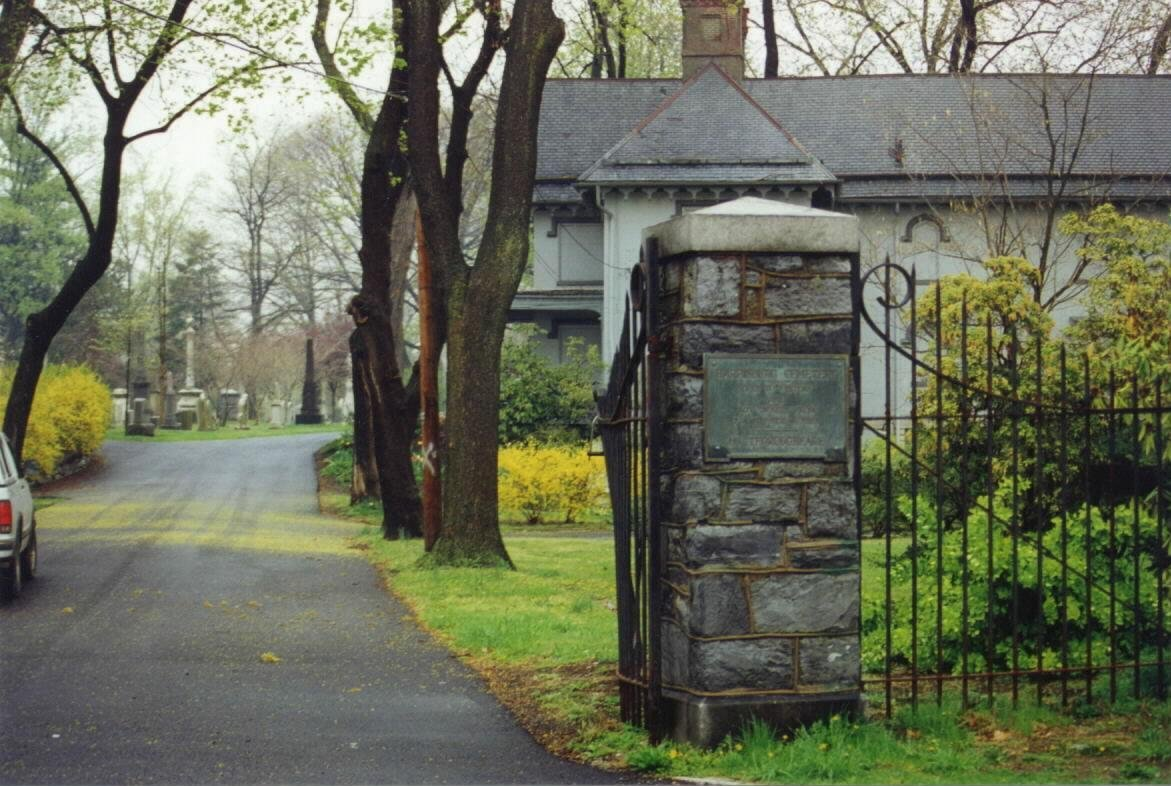 The Liberty Street entrance to the Harrisburg Cemetery with the Caretaker's Cottage on the right.