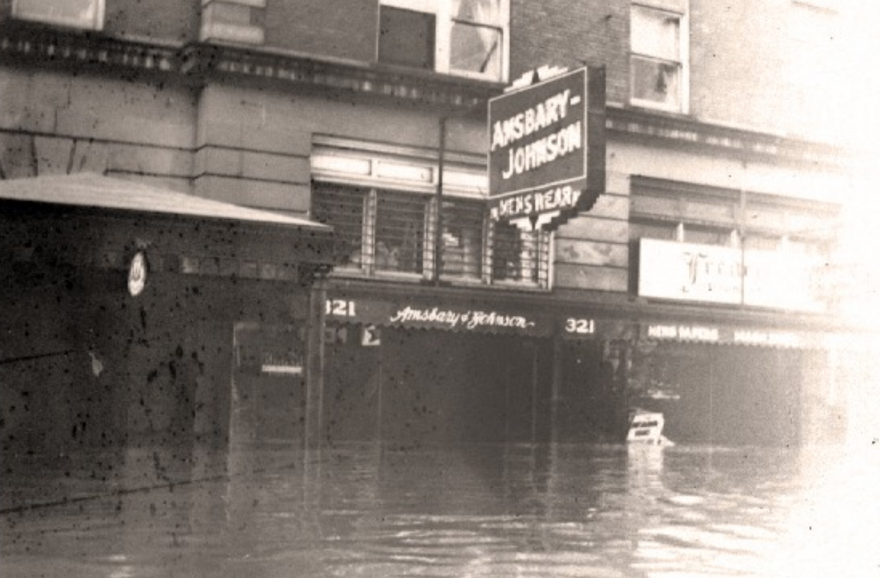 Amsbary's 321 10th Street location during the 1937 flood