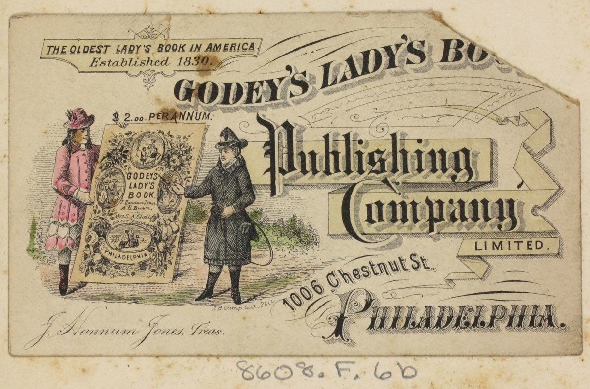 "Trade card for women's periodical containing a vignette showing two young, well-dressed ladies with a life-sized model of ""Godey's Lady's Book."""