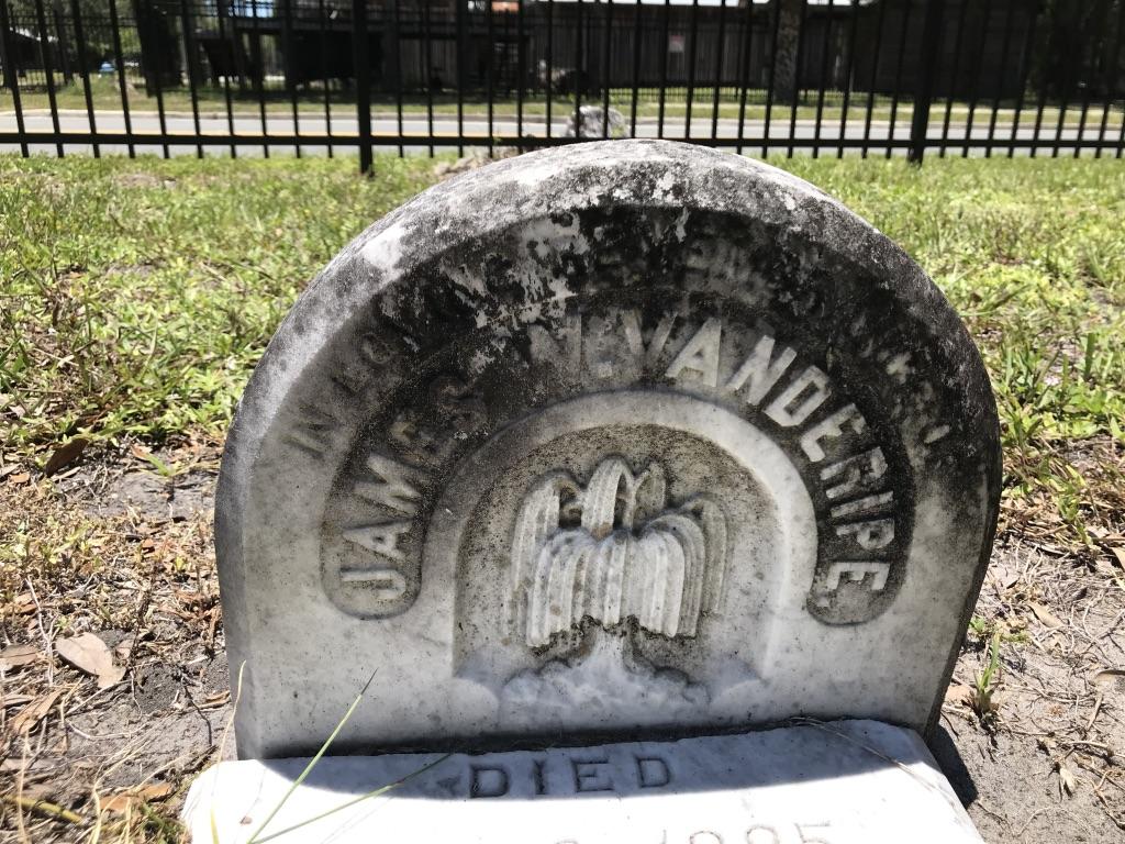 In Loving Memory of James W. Vanderipe. Born Oct. 31, 1870. Died Jan. 2, 1885.