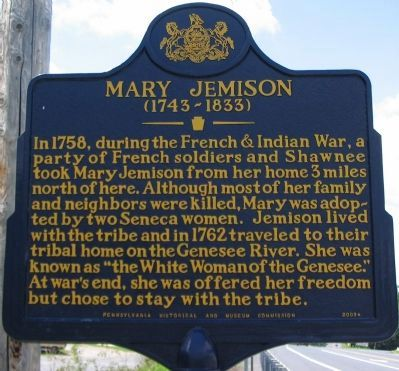 Pennsylvania Historical Marker: Mary Jemison