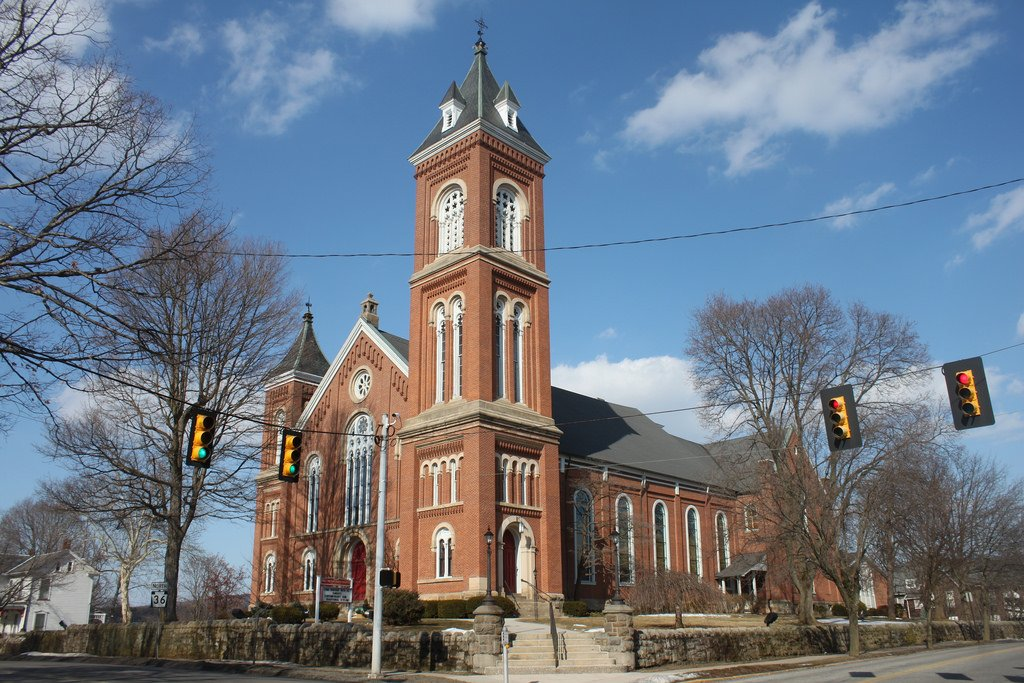 A street side view of the Presbyterian Church
