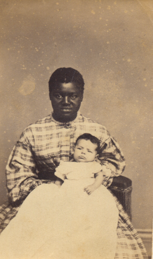"Photograph of ""Aunt Susan"" and unknown infant taken in Wheeling in April 1865"