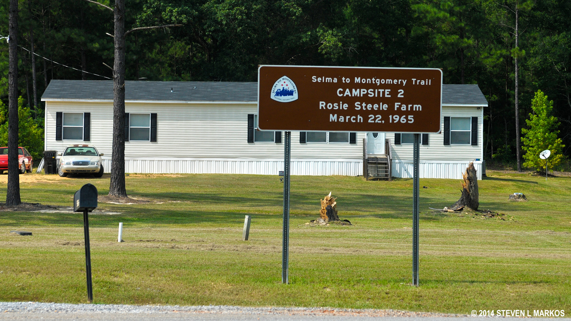 After travelling around 10 miles on March 22, 1965, the marchers chose the Rosie Steele farm along Highway 80 as there second campsite.